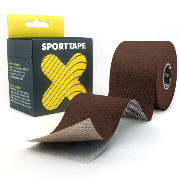 Kinesiology-Tape-Extra-Sticky-Dark-Brown-5cm-SPORTTAPE